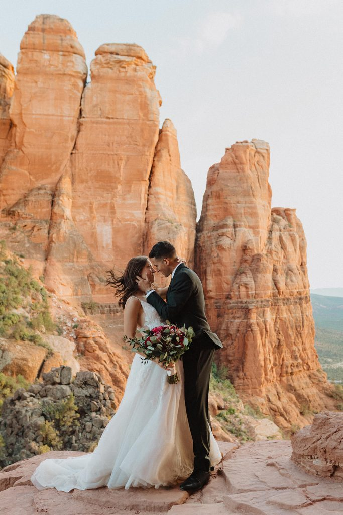 Image of a couple eloping in the desert and photographed by Alexa Ann, Seattle Elopement Photographer.