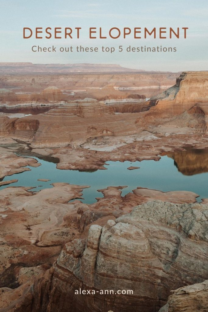 An image of a desert pool by Alexa Ann Photography, a Seattle Elopement Photographer, overlaid with text that reads Desert Elopement check out these top 5 destinations.