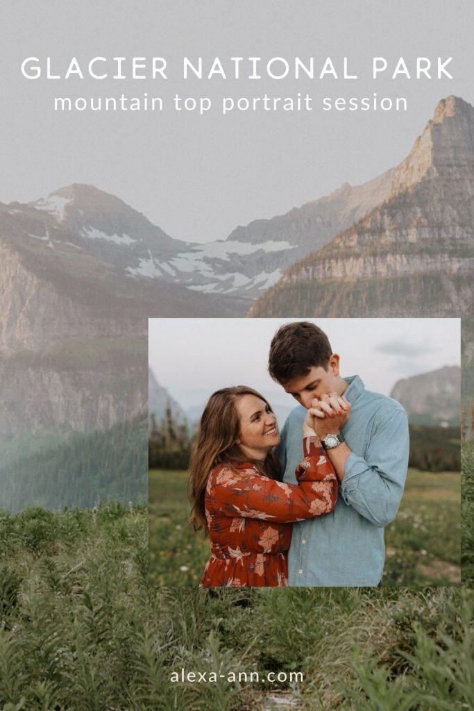 A man kisses his girlfriends hand as they pose in the field during their Glacier National Park Mountain Top Portrait Session by Alexa Ann Photography