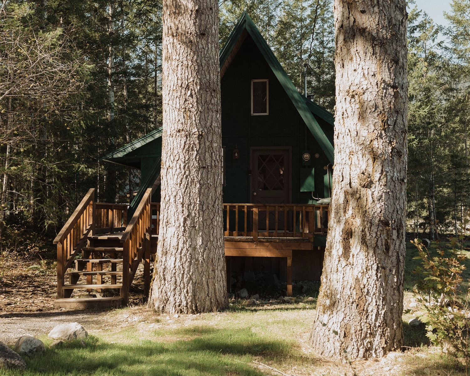 Outside view of the Gorgeous A-frame by Creek Waterfalls, a top Airbnb wedding venue in Washington State