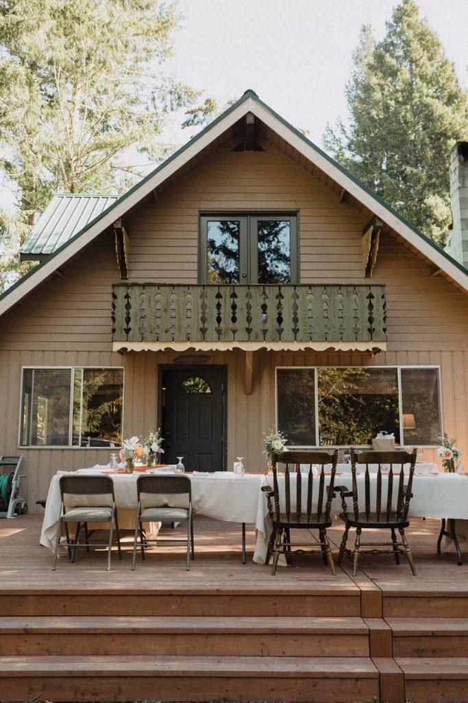 Back of the Spacious, Bright Cabin near Mt Rainier, a top Airbnb wedding venue in Washington State