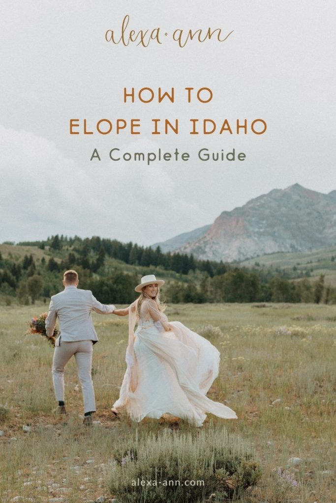 Bride and groom run through a stunning field with a mountain view behind them, taken by Alexa Ann Photography; image overlaid with text that reads How to Elope in Idaho A Complete Guide