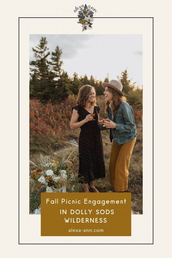 Couple share a laugh as they hold on to their wine glasses next to a picnic mat with a flower vase at Dolly Sods Wilderness; image overlaid with text that reads Fall Picnic Engagement in Dolly Sods Wilderness